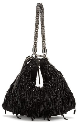 Jimmy Choo Callie Beaded Satin Clutch Bag - Black
