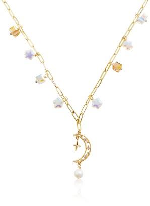 Valerie Chic Ariel Moon Star Pearl Necklace Swarovski Crystals 18K Gold