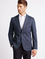Marks and Spencer Wool Blend Knitted Herringbone Jacket