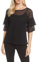 Bobeau Women's Ruffle Sleeve Flocked Dot Top