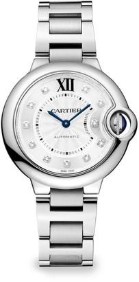 Cartier Ballon Bleu de Small Stainless Steel & Diamond Bracelet Watch