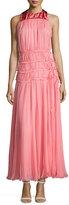 Valentino Sleeveless Ruched Chiffon Long Dress, Pink