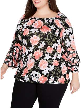 INC International Concepts Plus Double-Tiered Peasant Top