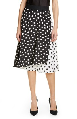 Alice + Olivia Nanette Pattern Mix Faux Wrap Silk Skirt