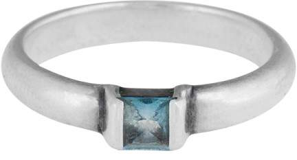 Tiffany & Co. Sterling Silver AquaMarine Square Ring Size 7
