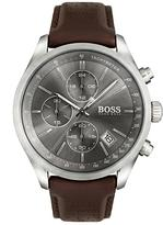 Hugo Boss Hugo Boss Black Grand Prix Grey Chronograph Dial Brown Leather Strap Mens Watch