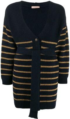Twin-Set Metallic Stripe Belted Cardigan