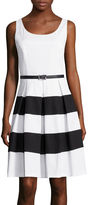 Tiana B Sleeveless Belted Colorblock Fit-and-Flare Dress