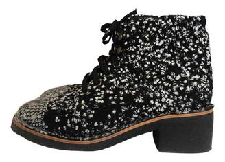 Chanel Black Tweed Boots
