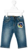 Roberto Cavalli tiger logo jeans - kids - Cotton/Elastodiene - 3 mth