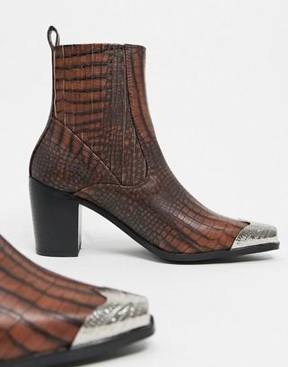 Raid Priscilla western boots in brown croc with toe cap