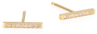 Zoë Chicco Pave Diamond 14K Gold Bar Studs