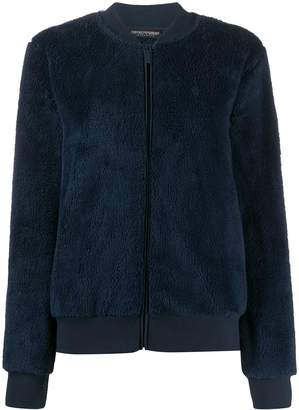 Emporio Armani logo-embroidered fitted bomber jacket