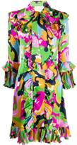 La DoubleJ x Mantero abstract print ruffle dress