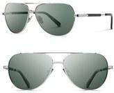 Shwood Men's 'Redmond' 56Mm Titanium & Wood Sunglasses - Ebony/ Silver Titanium/ Grey