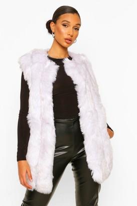 boohoo Luxe Longline Panelled Faux Fur Gilet