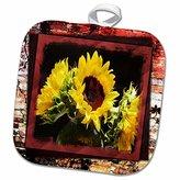 """3D Rose Bursting Sunflowers Pot Holder, 8"""" x 8"""""""