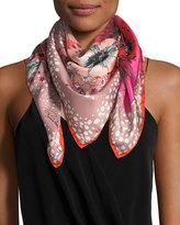 Roberto Cavalli Foulard Silk Twill Scarf, Bright Pink