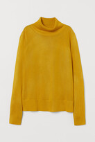 H&M Fine-knit Turtleneck Sweater - Yellow