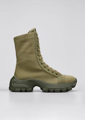 Miu Miu Denim Lace-Up Ankle Boots