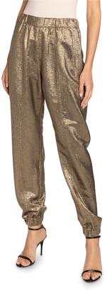 Saint Laurent Gold Lame Jogger Pants