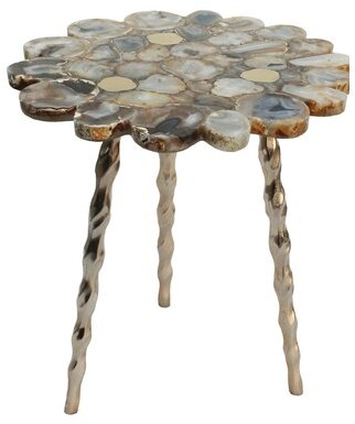 Mercer41 Sue Agate Side Table with Brass Inlay with Tri Legs - Soft Gold, Gold Agate