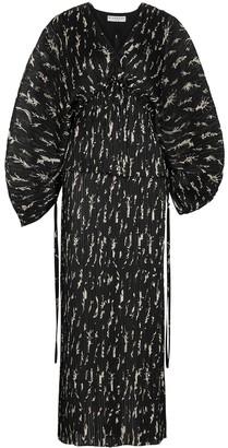 Givenchy Black printed plisse midi dress