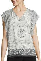 Asstd National Brand Black Rainn Flutter-Sleeve Top