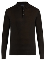 Lanvin Long-sleeved silk-knit polo shirt