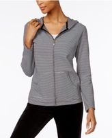 Karen Scott Petite Striped Hoodie, Only at Macy's