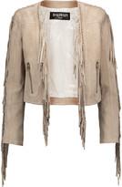 Balmain Cropped fringed suede jacket