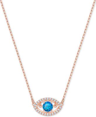 "Swarovski Rose Gold-Tone Crystal Evil Eye Pendant Necklace, 14-4/5"" + 4"" extender"