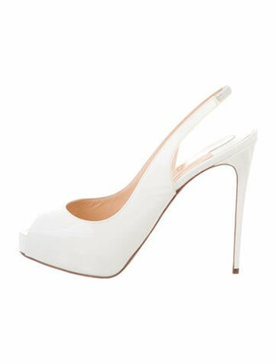 Christian Louboutin Private Number 120 Patent Leather Slingback Pumps White