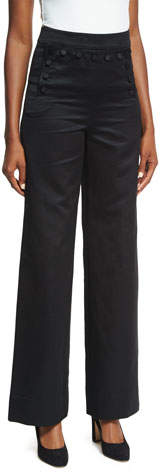 Co Sateen High-Waist Wide-Leg Sailor Pants