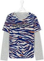 Kenzo tiger stripe logo print T-shirt - kids - Cotton/Spandex/Elastane - 14 yrs