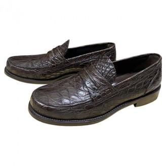 Louis Vuitton Brown Alligator Flats
