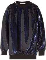 Carven Oversized Embellished Tulle Top - Midnight blue