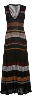 Proenza Schouler Striped Ribbed-Knit Maxi Dress