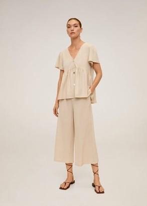 MANGO Fluid culotte pants sand - XS - Women