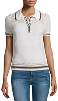 Frame Short-Sleeve Mesh Polo Shirt, Chalk/Bronze