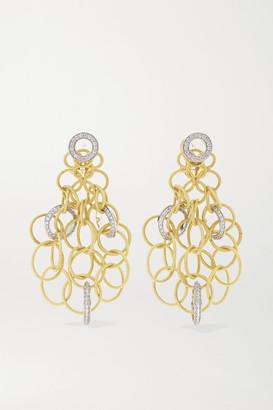 Buccellati Hawaii 18-karat Yellow And White Gold Diamond Earrings - one size