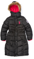 U.S. Polo Assn. Black Long Puffer Coat - Toddler & Girls