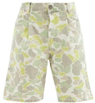 Raey Board Fold Camouflage-print Denim Shorts - Green Print