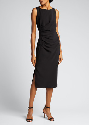 Badgley Mischka Sleeveless Side Ruched Sheath Dress