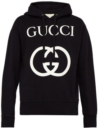 Gucci GG Loop-back Cotton Hooded Sweatshirt - Black White
