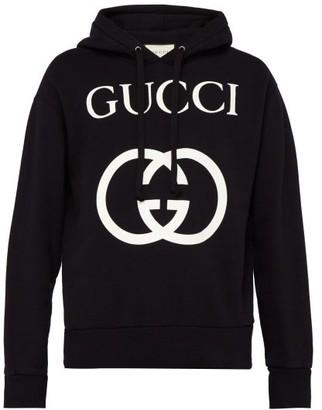 Gucci Gg Loop Back Cotton Hooded Sweatshirt - Mens - Black White