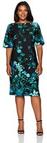 Gabby Skye Women's Plus Size Dark Floral Midi Dress