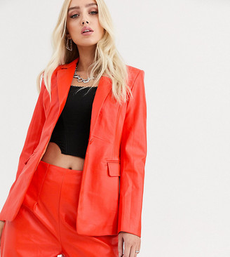 UNIQUE21 structured blazer in faux leather co-ord