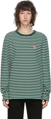 Ami Alexandre Mattiussi Green and White Ami De Coeur Mariniere Long Sleeve T-Shirt