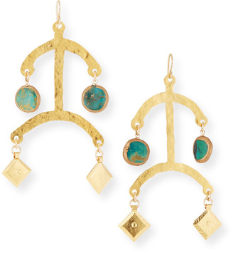 Devon Leigh Hammered Turquoise Dangle Earrings